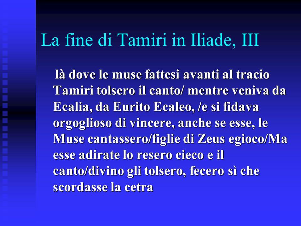 La fine di Tamiri in Iliade, III