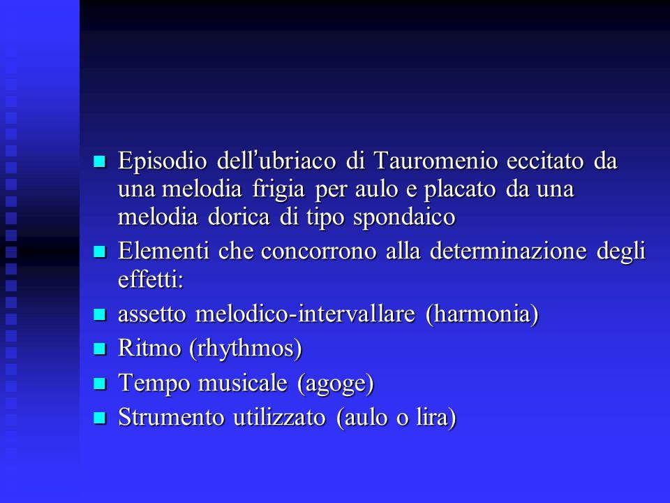 Episodio dell'ubriaco di Tauromenio eccitato da una melodia frigia per aulo e placato da una melodia dorica di tipo spondaico