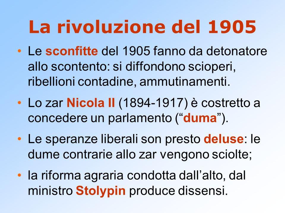 La rivoluzione del 1905 Le sconfitte del 1905 fanno da detonatore allo scontento: si diffondono scioperi, ribellioni contadine, ammutinamenti.