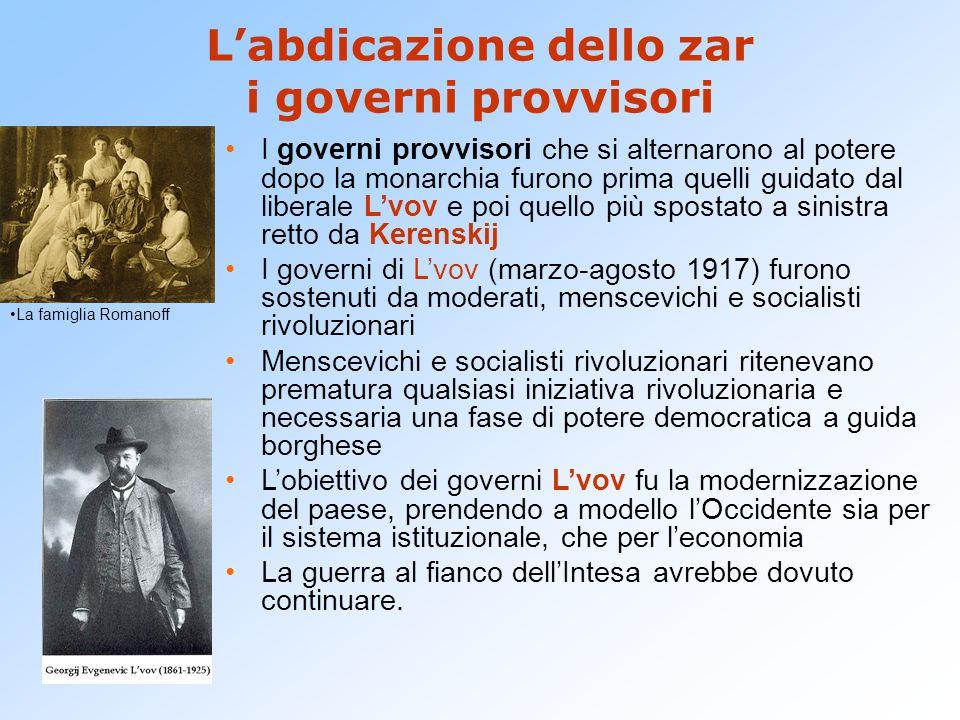 L'abdicazione dello zar i governi provvisori