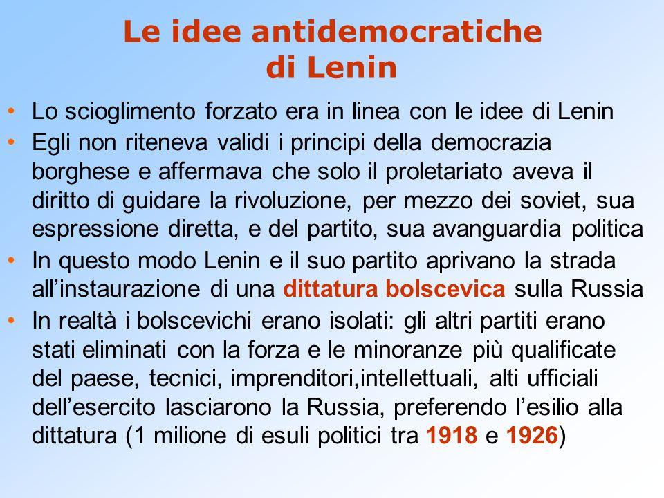 Le idee antidemocratiche di Lenin