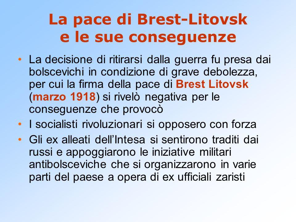 La pace di Brest-Litovsk e le sue conseguenze