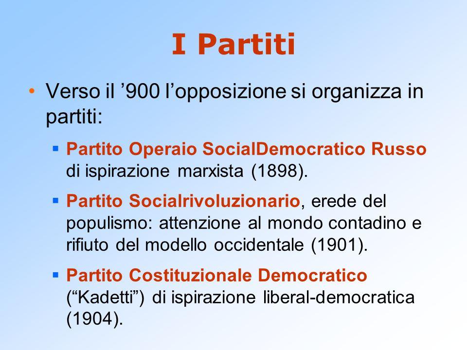 I Partiti Verso il '900 l'opposizione si organizza in partiti: