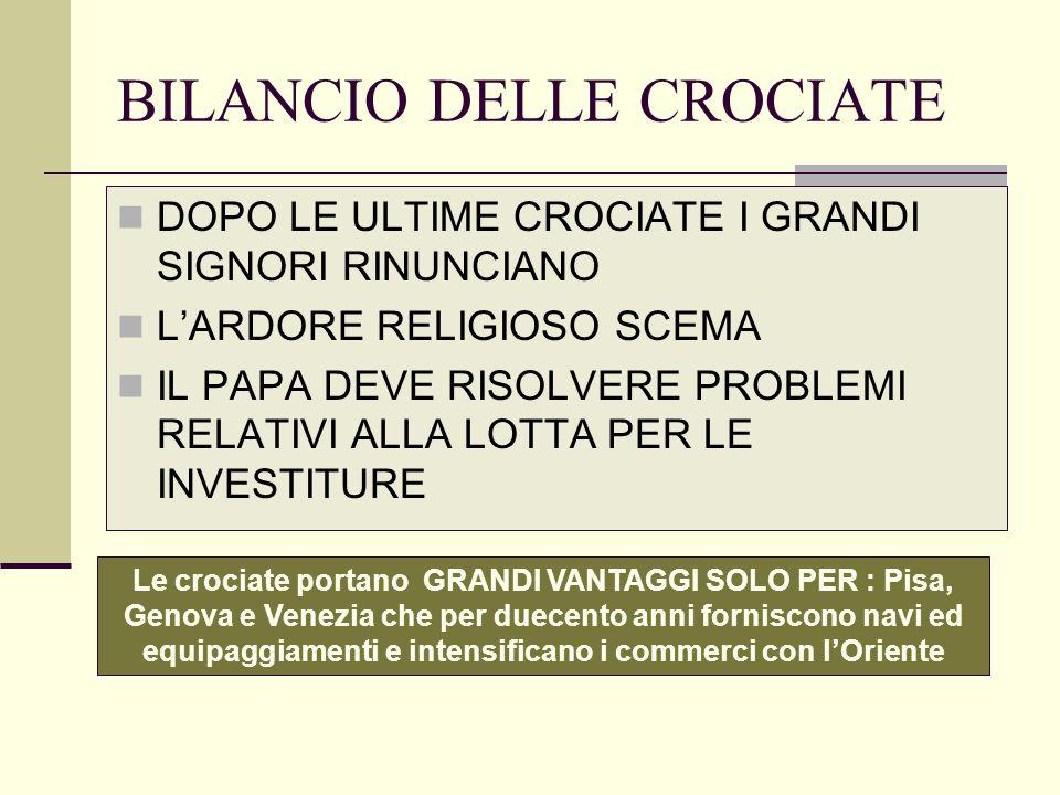 BILANCIO DELLE CROCIATE
