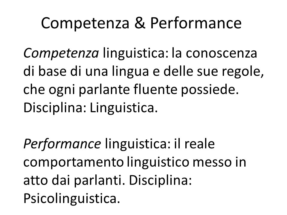 Competenza & Performance