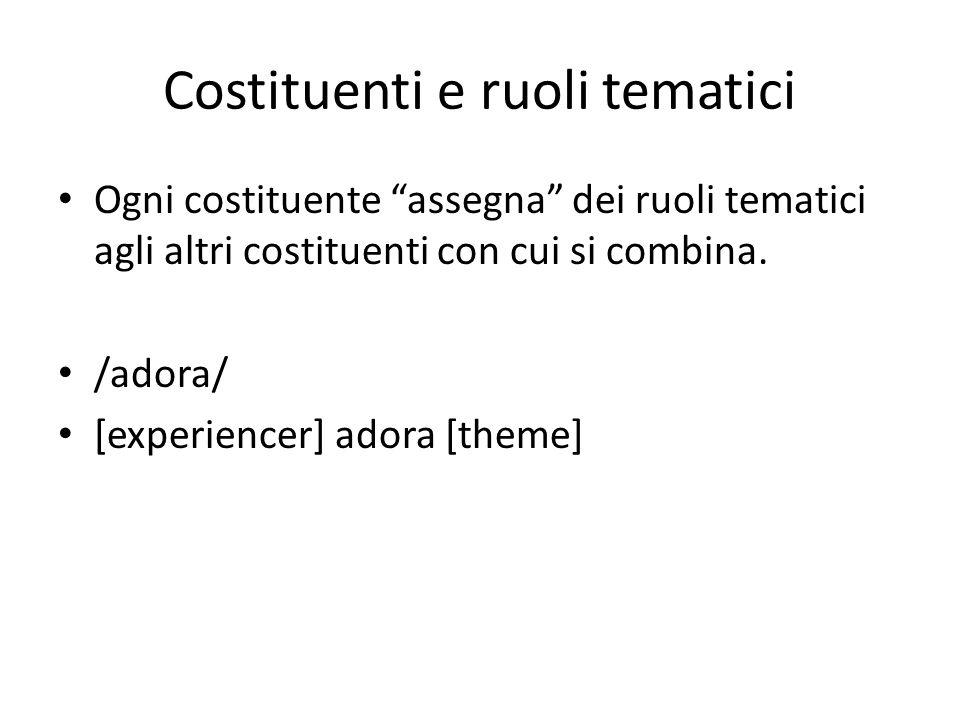 Costituenti e ruoli tematici