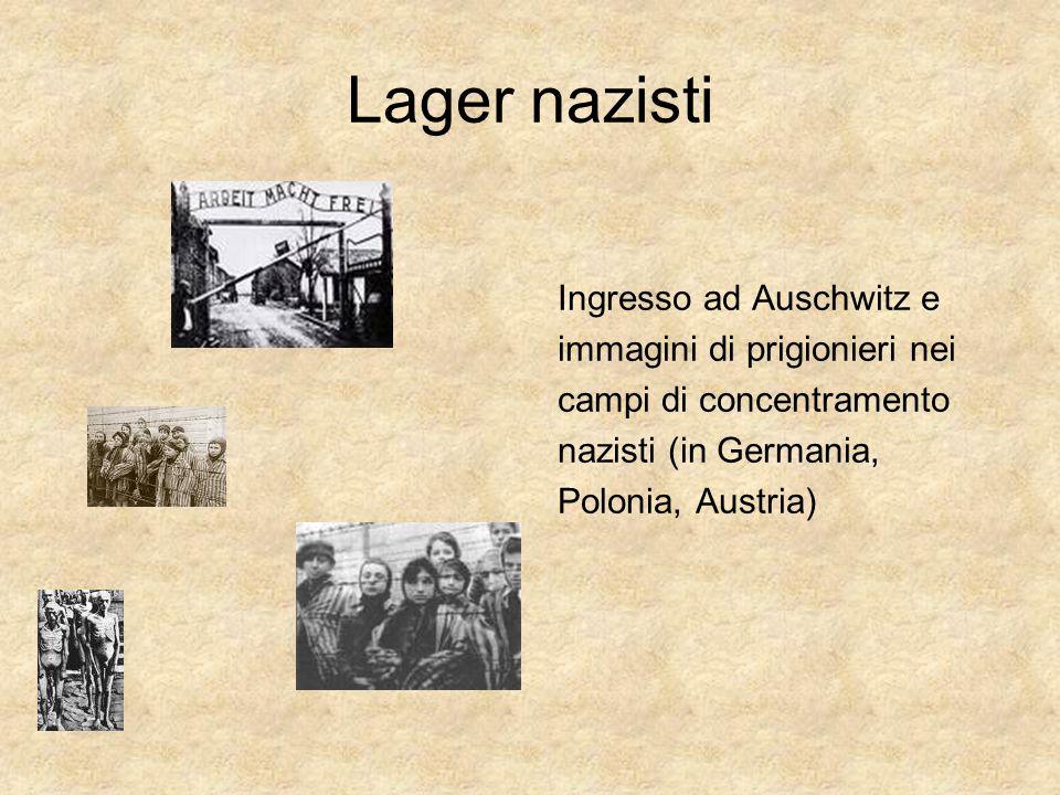 Lager nazisti Ingresso ad Auschwitz e immagini di prigionieri nei