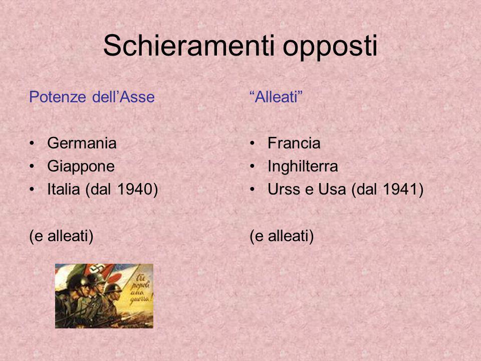 Schieramenti opposti Potenze dell'Asse Germania Giappone