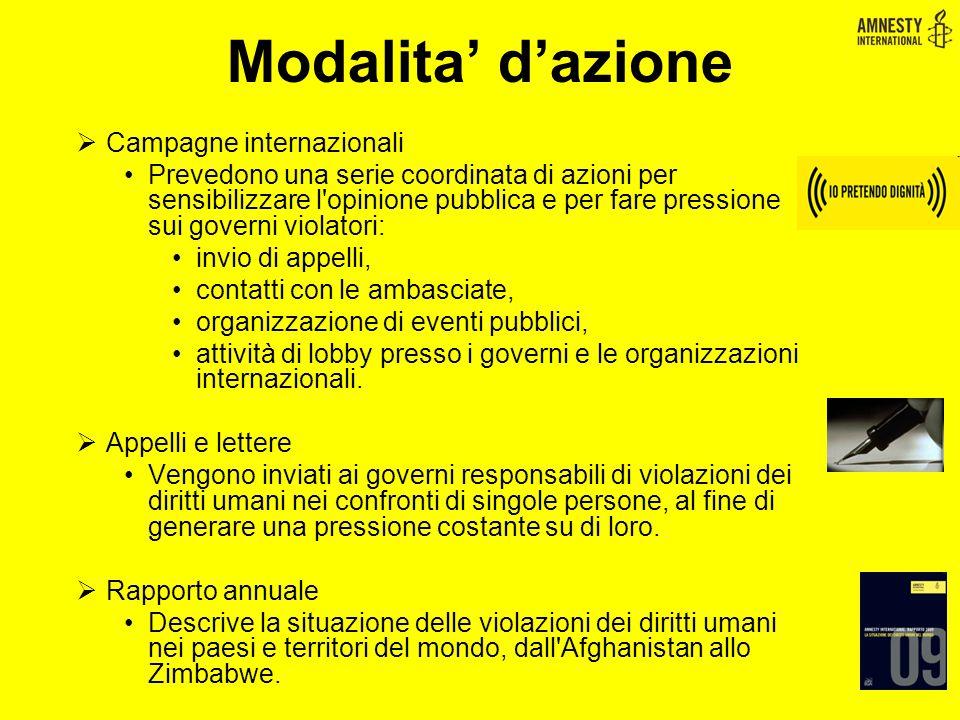 Modalita' d'azione Campagne internazionali