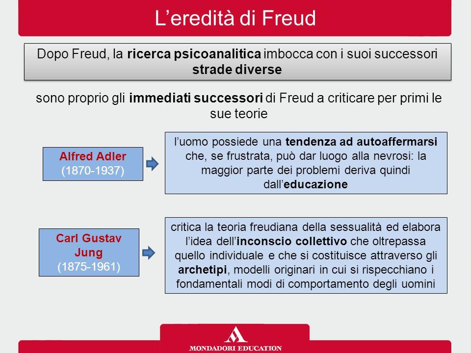 L'eredità di Freud Dopo Freud, la ricerca psicoanalitica imbocca con i suoi successori strade diverse.
