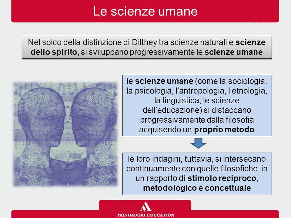 Le scienze umane Nel solco della distinzione di Dilthey tra scienze naturali e scienze dello spirito, si sviluppano progressivamente le scienze umane.