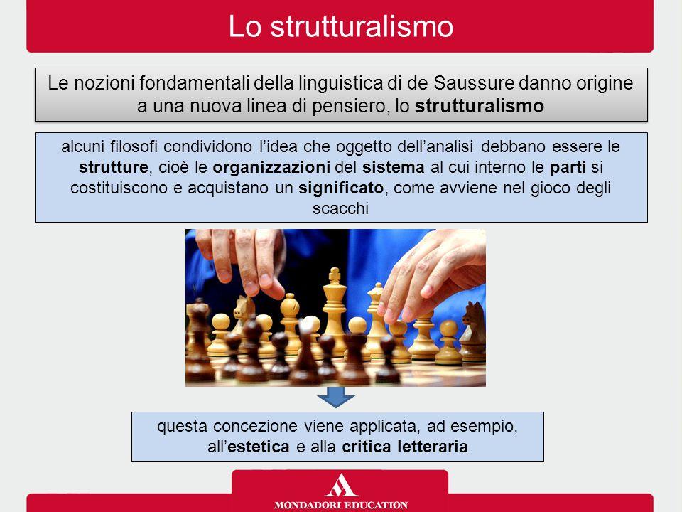 Lo strutturalismo Le nozioni fondamentali della linguistica di de Saussure danno origine a una nuova linea di pensiero, lo strutturalismo.
