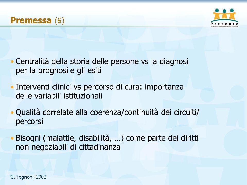 Premessa (6) Centralità della storia delle persone vs la diagnosi per la prognosi e gli esiti.