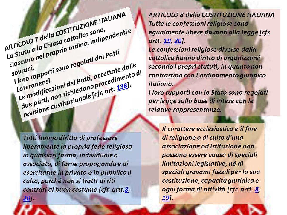 ARTICOLO 8 della COSTITUZIONE ITALIANA