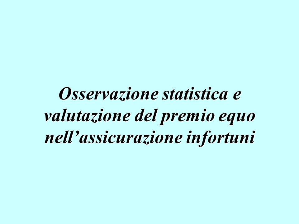 Osservazione statistica e valutazione del premio equo nell'assicurazione infortuni