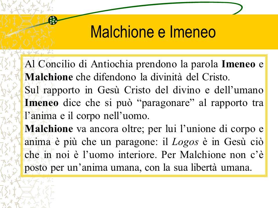 Malchione e Imeneo Al Concilio di Antiochia prendono la parola Imeneo e Malchione che difendono la divinità del Cristo.