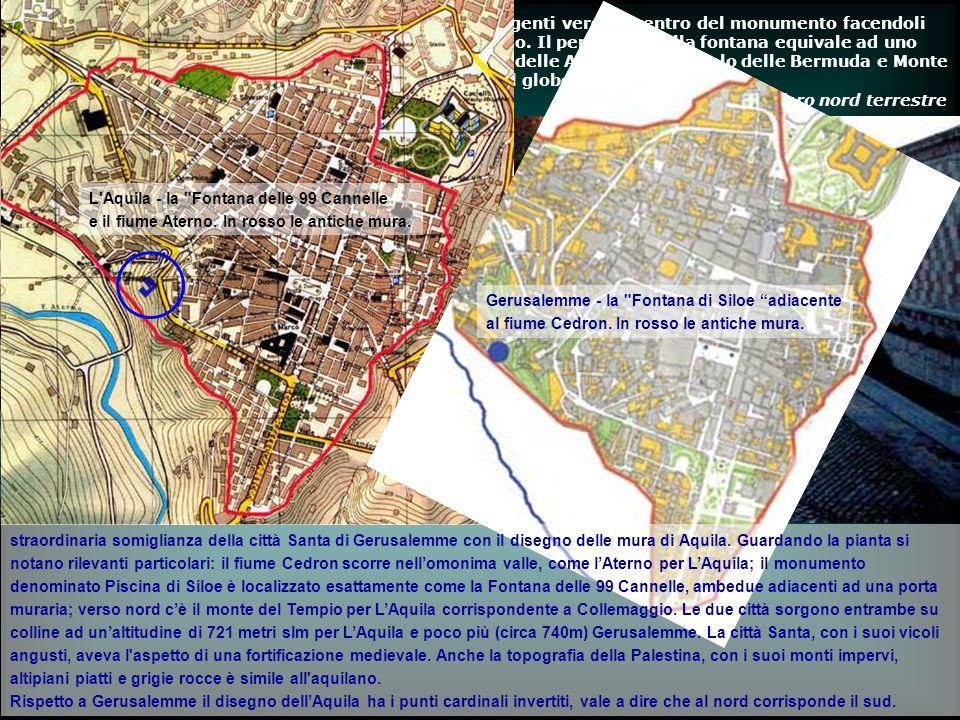 straordinaria somiglianza della città Santa di Gerusalemme con il disegno delle mura di Aquila. Guardando la pianta si