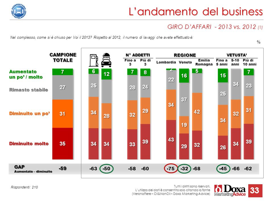 L'andamento del business GIRO D'AFFARI - 2013 vs. 2012 (1)