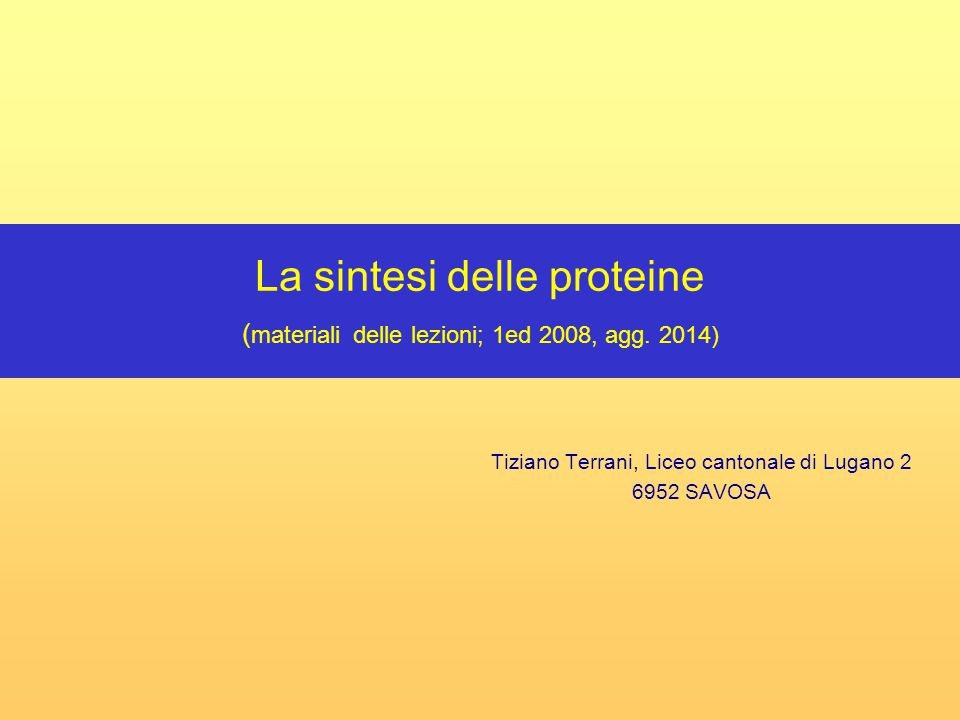 Tiziano Terrani, Liceo cantonale di Lugano 2 6952 SAVOSA