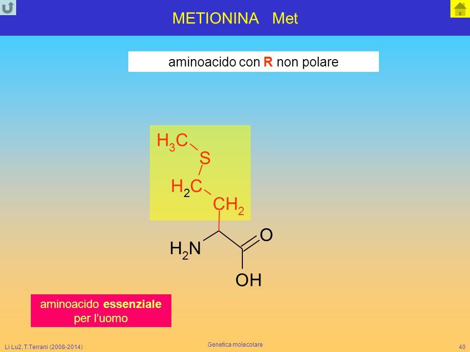 N H O C S METIONINA Met aminoacido con R non polare 3 2