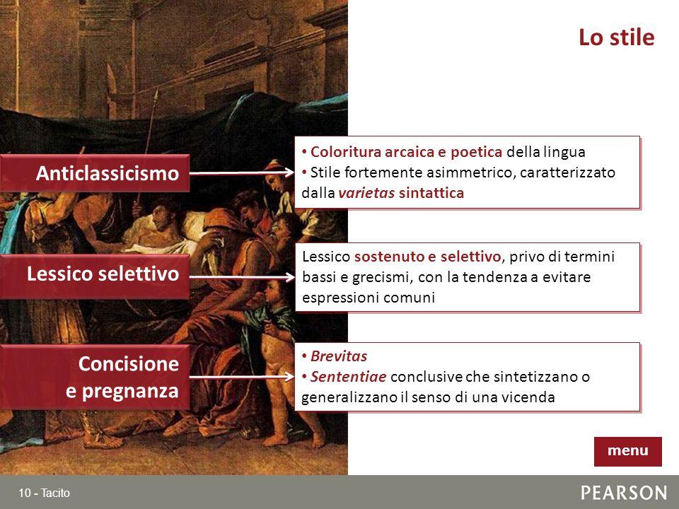 Lo stile Anticlassicismo Lessico selettivo Concisione e pregnanza