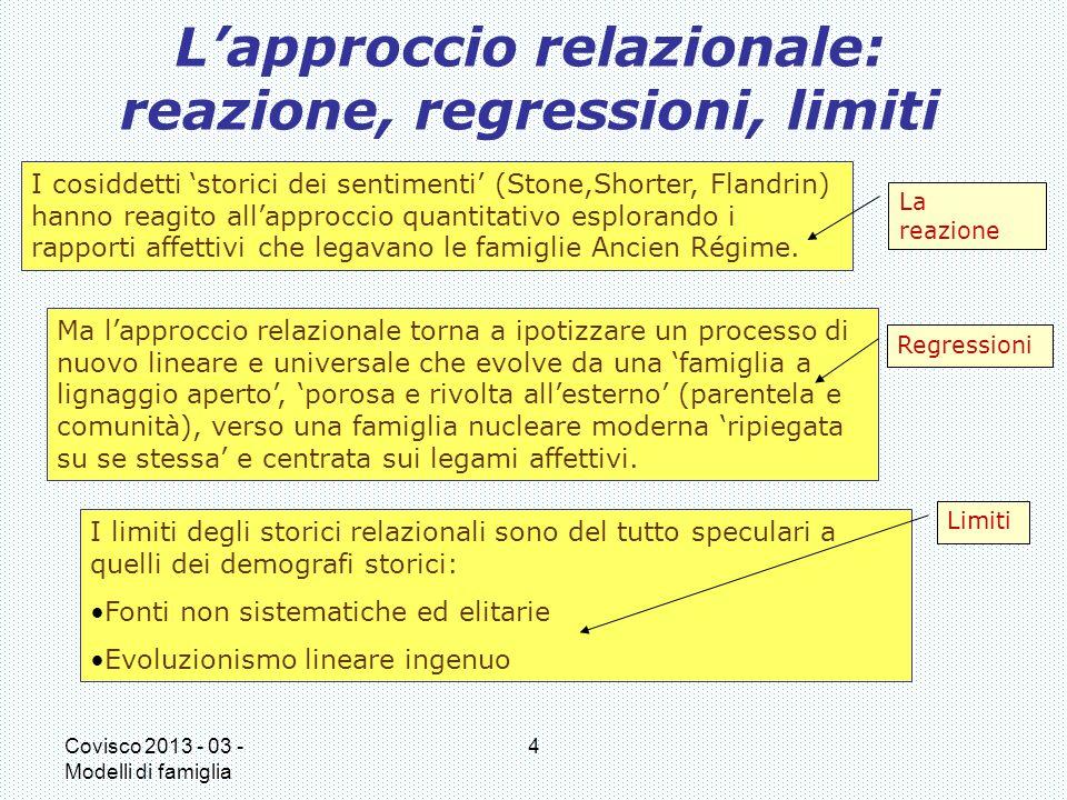 L'approccio relazionale: reazione, regressioni, limiti