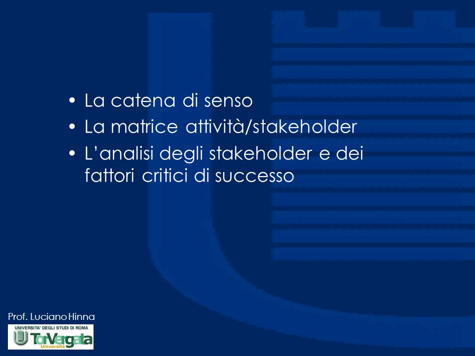 La catena di senso La matrice attività/stakeholder.