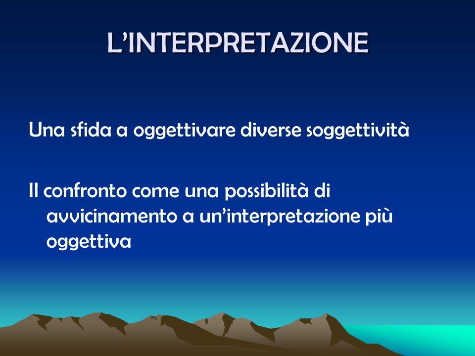 L'INTERPRETAZIONE Una sfida a oggettivare diverse soggettività