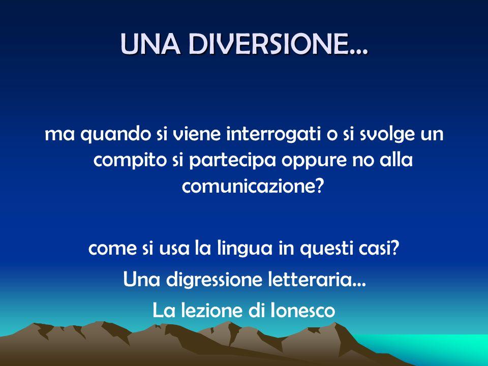 UNA DIVERSIONE… ma quando si viene interrogati o si svolge un compito si partecipa oppure no alla comunicazione