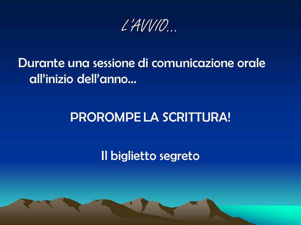 L'AVVIO… Durante una sessione di comunicazione orale all'inizio dell'anno… PROROMPE LA SCRITTURA.