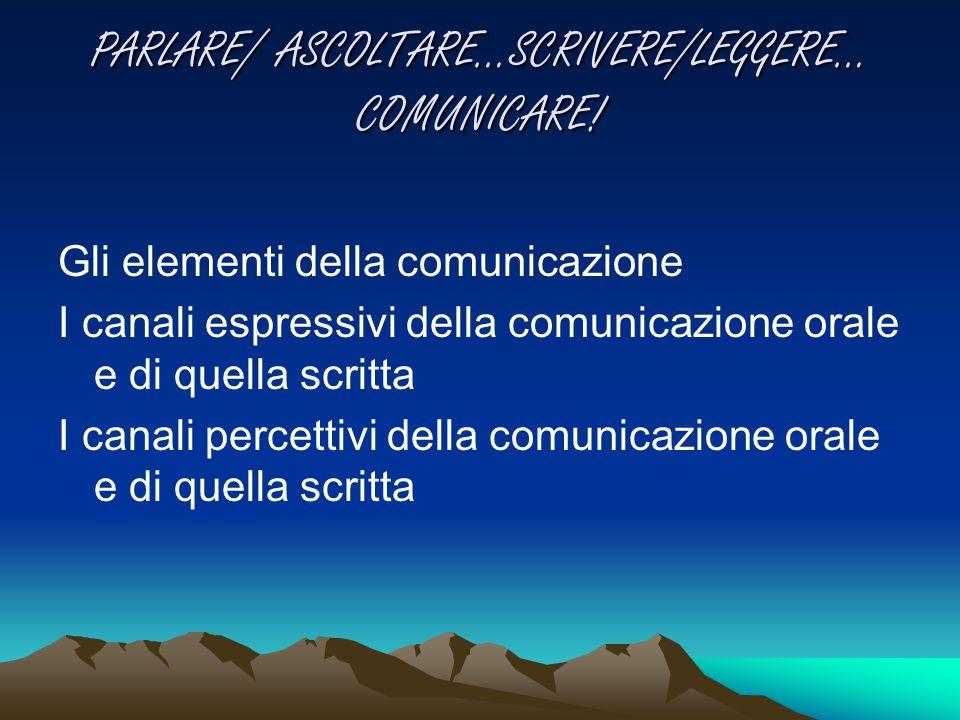 PARLARE/ ASCOLTARE…SCRIVERE/LEGGERE… COMUNICARE!