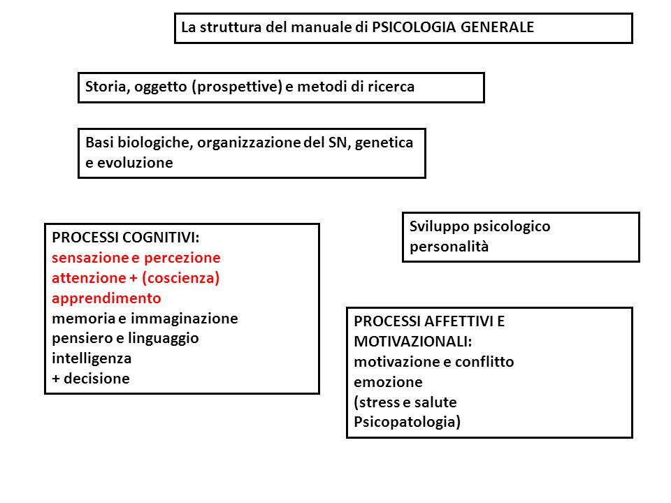 La struttura del manuale di PSICOLOGIA GENERALE