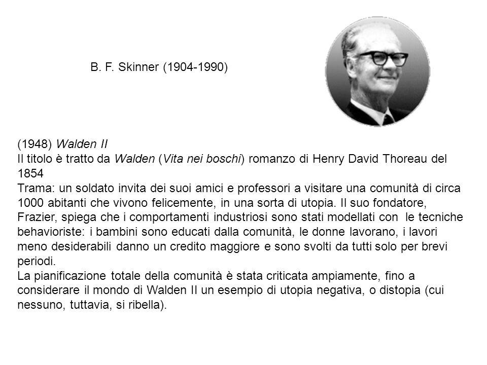B. F. Skinner (1904-1990) (1948) Walden II. Il titolo è tratto da Walden (Vita nei boschi) romanzo di Henry David Thoreau del 1854.