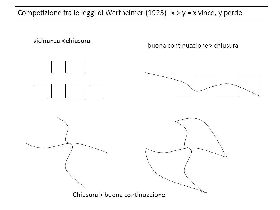 Competizione fra le leggi di Wertheimer (1923) x > y = x vince, y perde