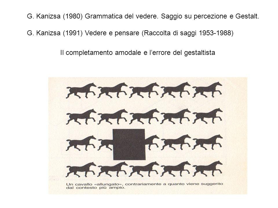 G. Kanizsa (1980) Grammatica del vedere. Saggio su percezione e Gestalt.