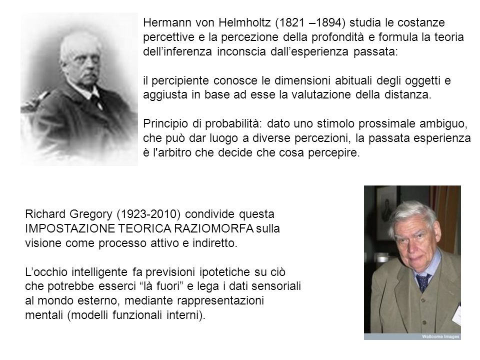 Hermann von Helmholtz (1821 –1894) studia le costanze percettive e la percezione della profondità e formula la teoria dell'inferenza inconscia dall'esperienza passata: