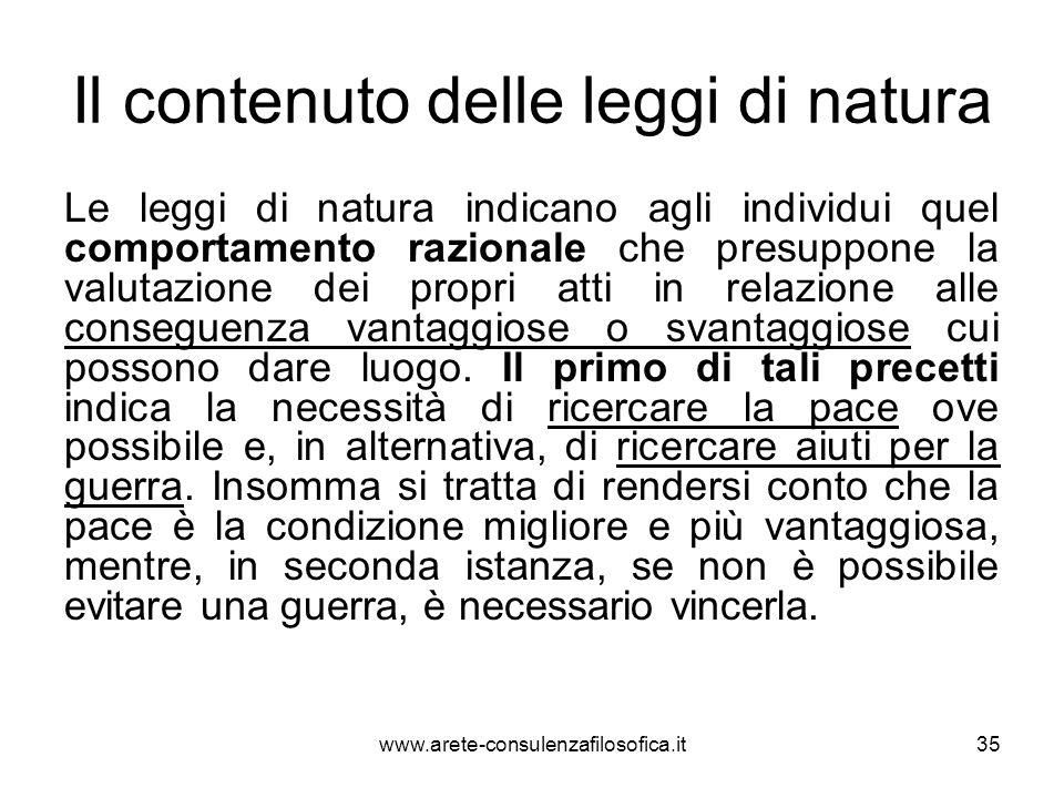 Il contenuto delle leggi di natura