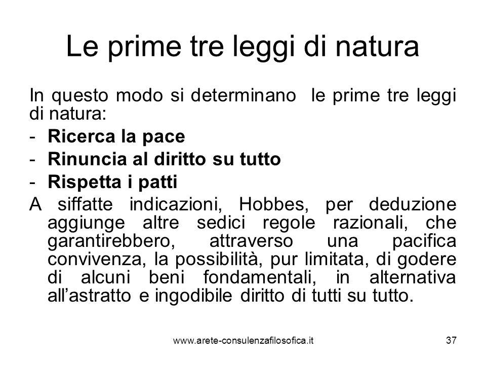 Le prime tre leggi di natura