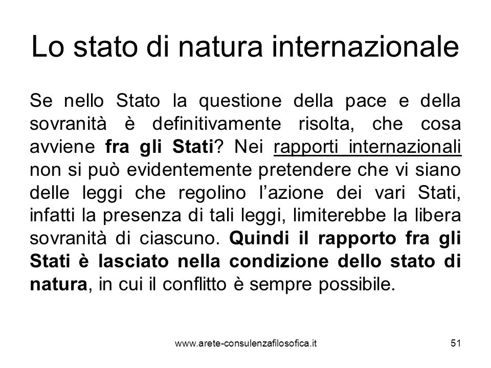 Lo stato di natura internazionale