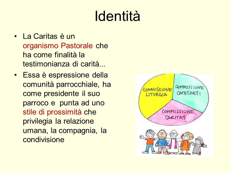 Identità La Caritas è un organismo Pastorale che ha come finalità la testimonianza di carità...