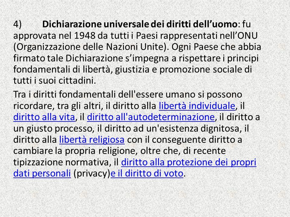4) Dichiarazione universale dei diritti dell'uomo: fu approvata nel 1948 da tutti i Paesi rappresentati nell'ONU (Organizzazione delle Nazioni Unite).
