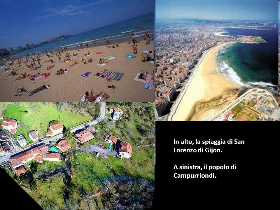 In alto, la spiaggia di San Lorenzo di Gijon