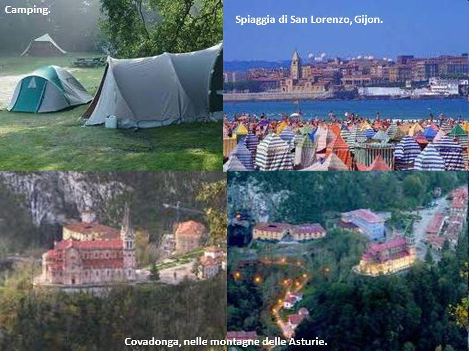 Camping. Spiaggia di San Lorenzo, Gijon. Covadonga, nelle montagne delle Asturie.