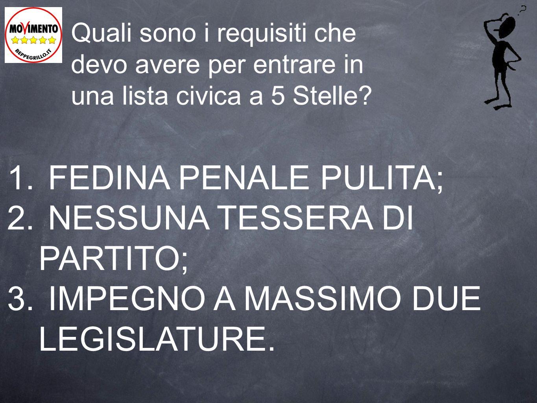 NESSUNA TESSERA DI PARTITO; IMPEGNO A MASSIMO DUE LEGISLATURE.