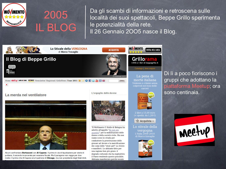 Da gli scambi di informazioni e retroscena sulle località dei suoi spettacoli, Beppe Grillo sperimenta le potenzialità della rete.