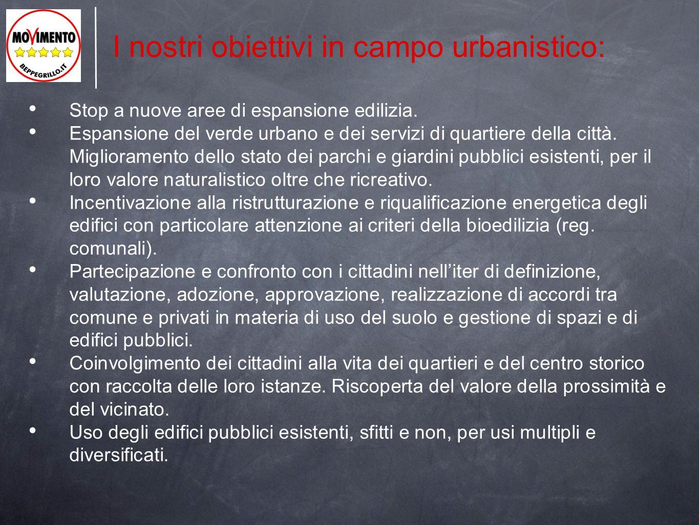 I nostri obiettivi in campo urbanistico: