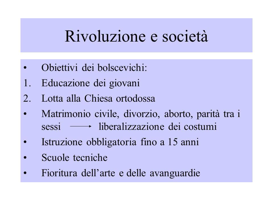 Rivoluzione e società Obiettivi dei bolscevichi: