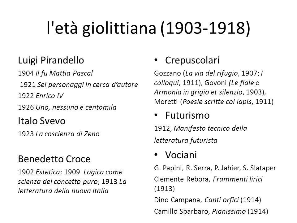 l età giolittiana (1903-1918) Luigi Pirandello Italo Svevo