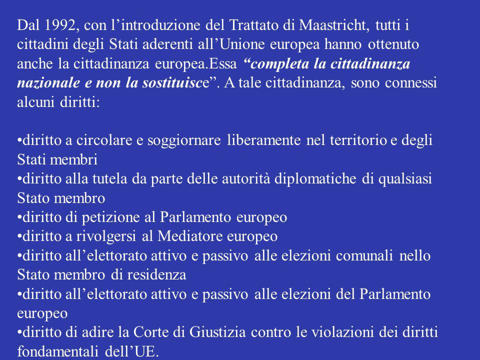 Dal 1992, con l'introduzione del Trattato di Maastricht, tutti i cittadini degli Stati aderenti all'Unione europea hanno ottenuto anche la cittadinanza europea.Essa completa la cittadinanza nazionale e non la sostituisce . A tale cittadinanza, sono connessi alcuni diritti: