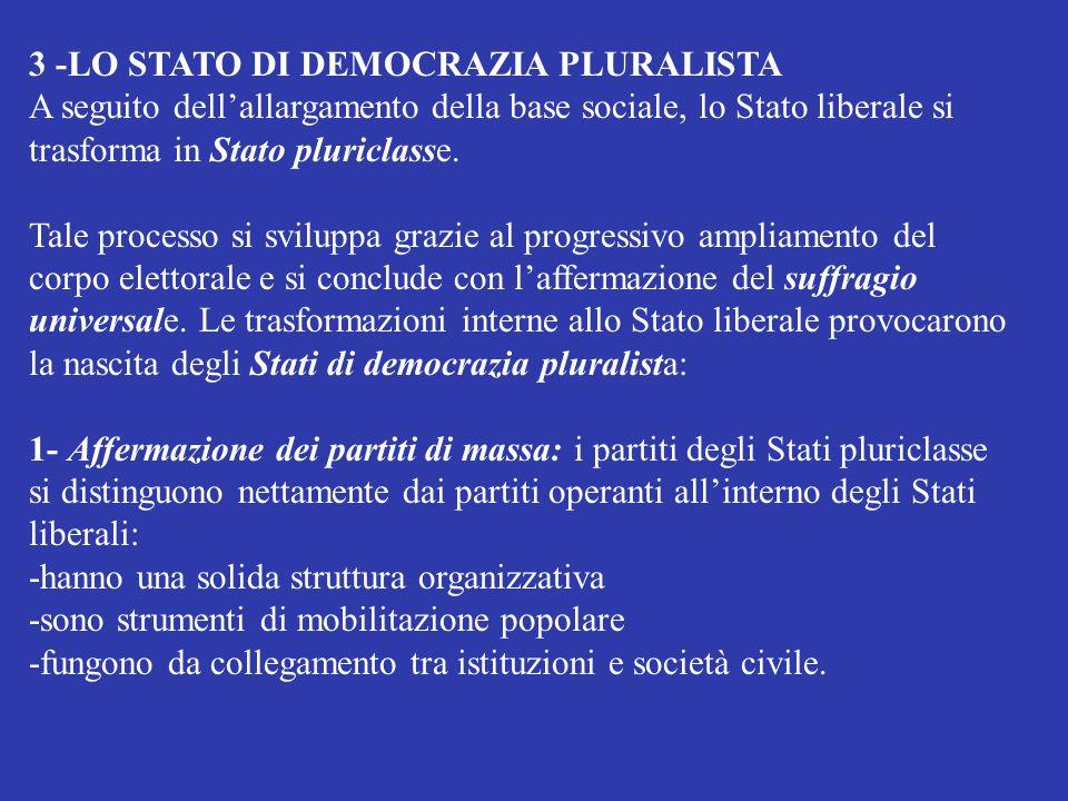 3 -LO STATO DI DEMOCRAZIA PLURALISTA